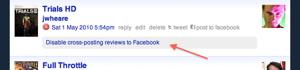 Disable cross-posting reviews to Facebook